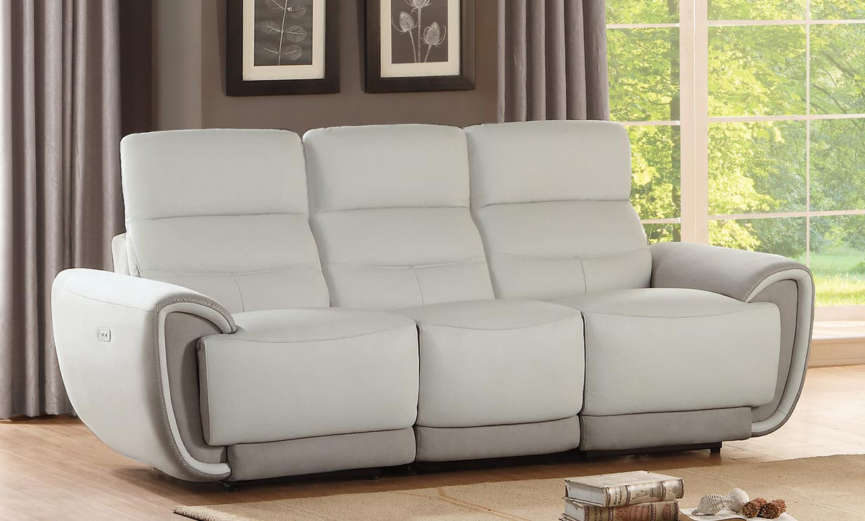 Merveilleux Homelegance Valda Power Double Reclining Sofa   Top Grain Leather   Ivory