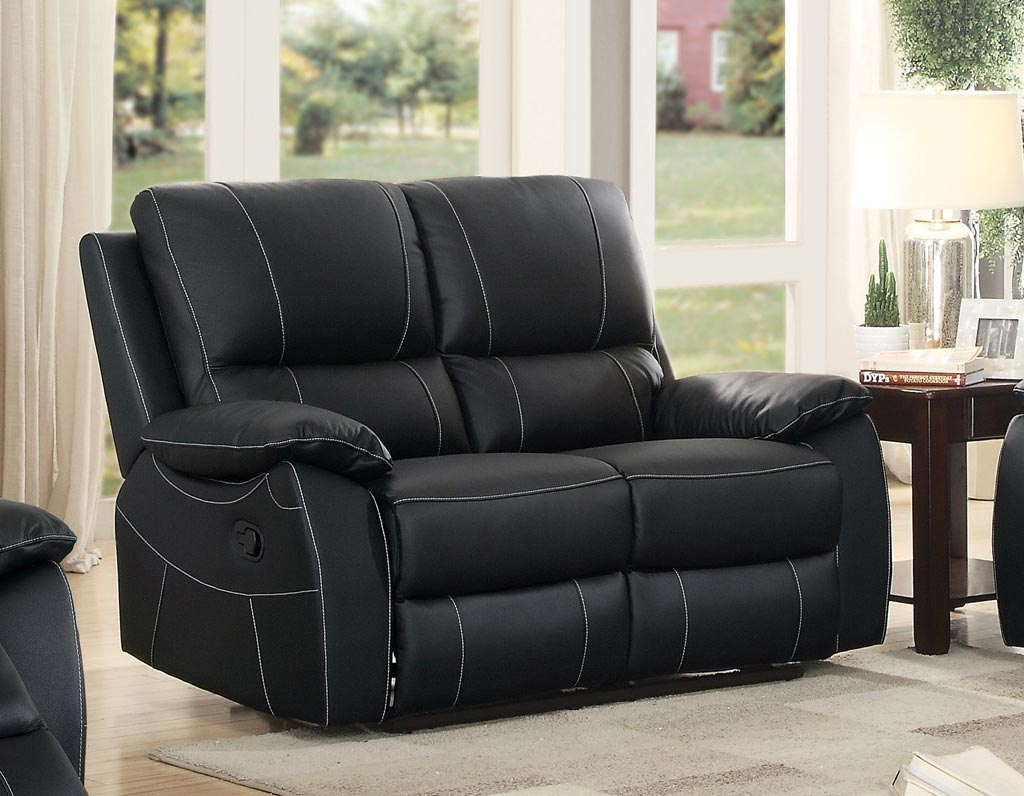 5 pc black bonded leather reclining sofa recliner sectional