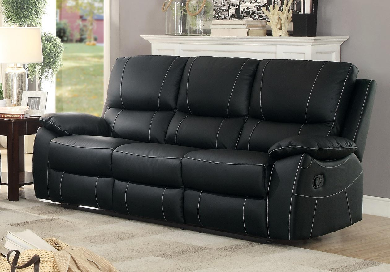 Homelegance Greeley Double Reclining Sofa - Top Grain Leather Match - Black