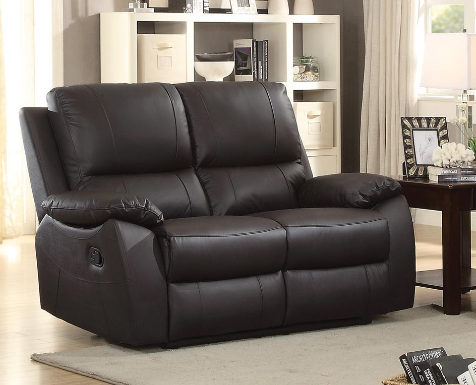 Homelegance Greeley Double Reclining Love Seat - Top Grain Leather Match - Brown