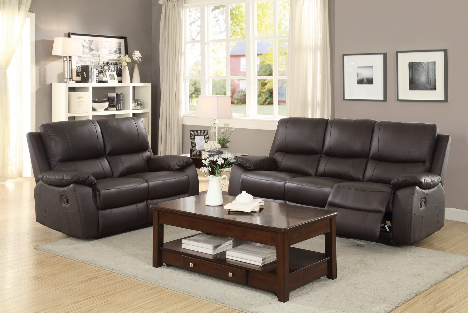Homelegance Greeley Reclining Sofa Set - Top Grain Leather Match - Brown