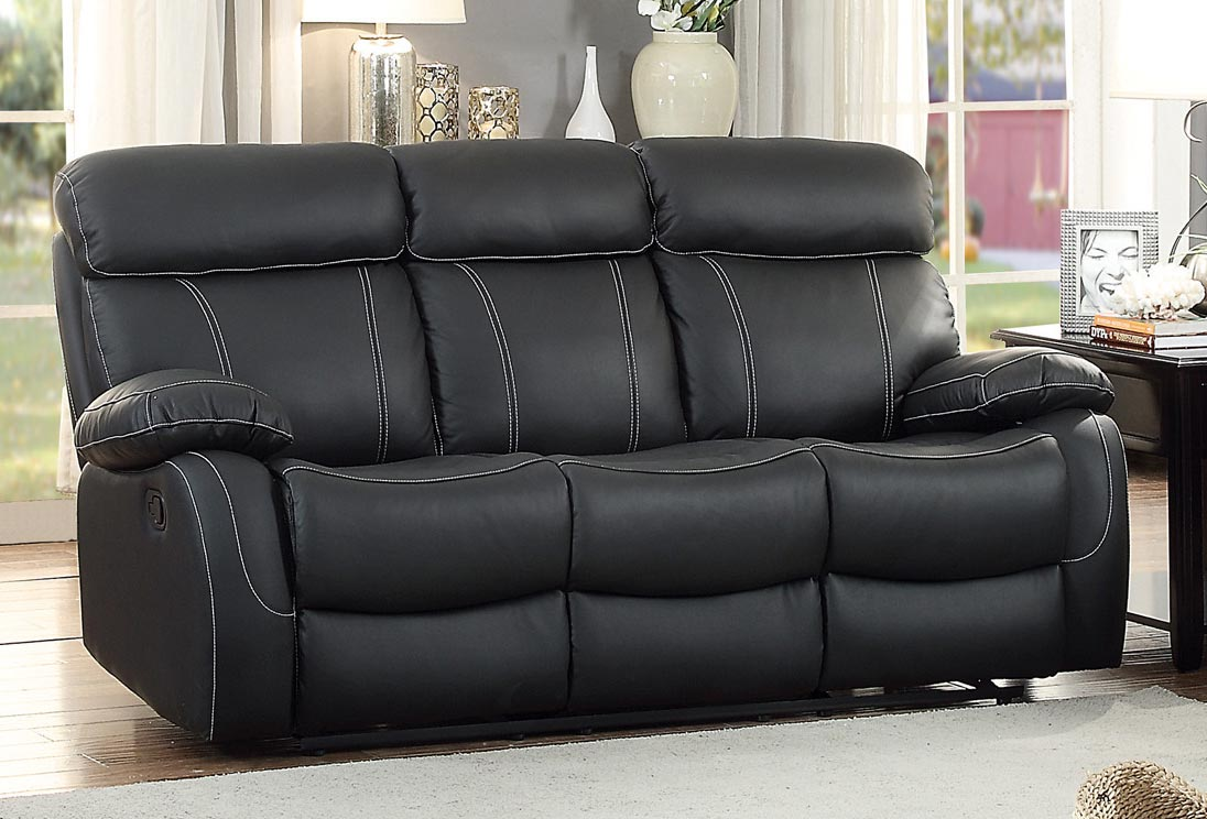 Homelegance Pendu Double Reclining Sofa   Top Grain Leather Match   Black