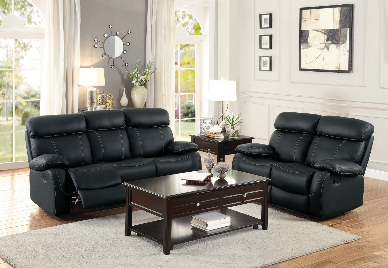 Homelegance Pendu Reclining Sofa Set - Top Grain Leather Match - Black