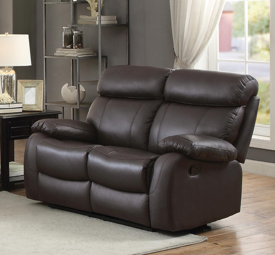Homelegance Pendu Double Reclining Love Seat - Top Grain Leather Match - Brown