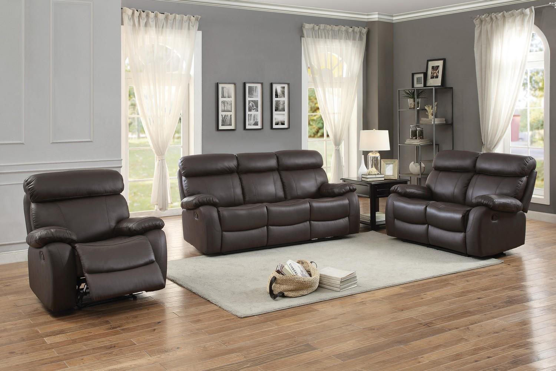 Homelegance Pendu Reclining Sofa Set - Top Grain Leather Match - Brown