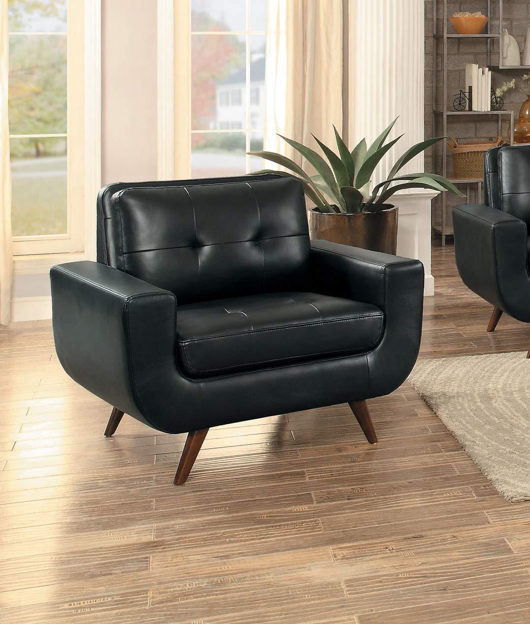 Homelegance Deryn Chair - Black Leather Gel Match