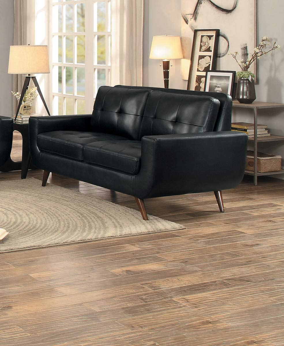 Homelegance Deryn Love Seat - Black Leather Gel Match