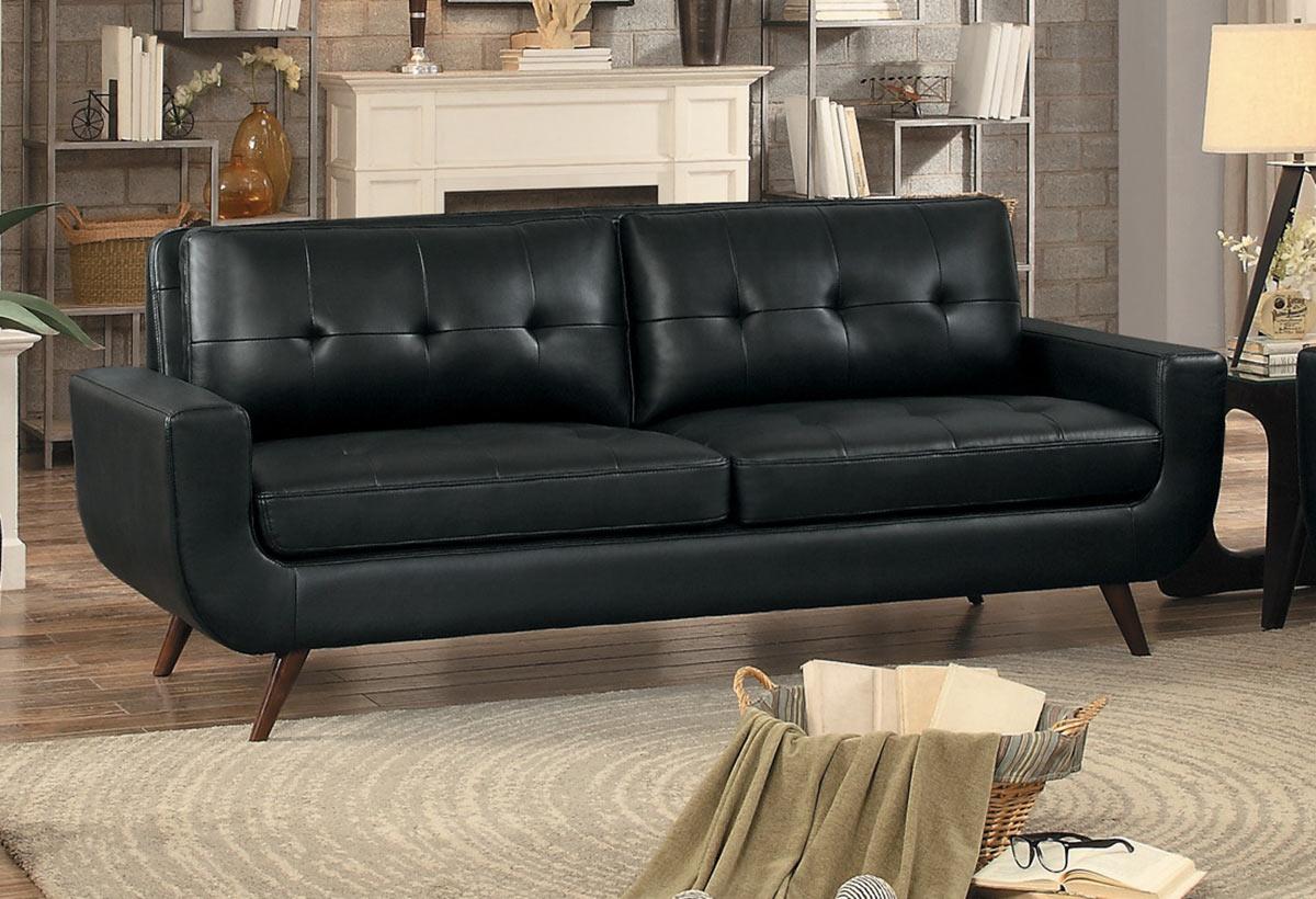Homelegance Deryn Sofa - Black Leather Gel Match