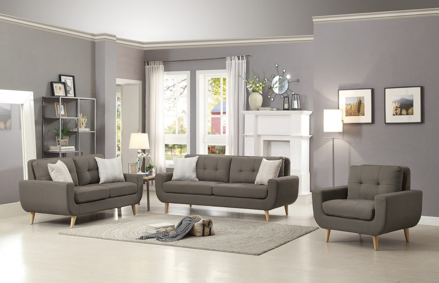 Homelegance Deryn Sofa Set - Polyester - Grey