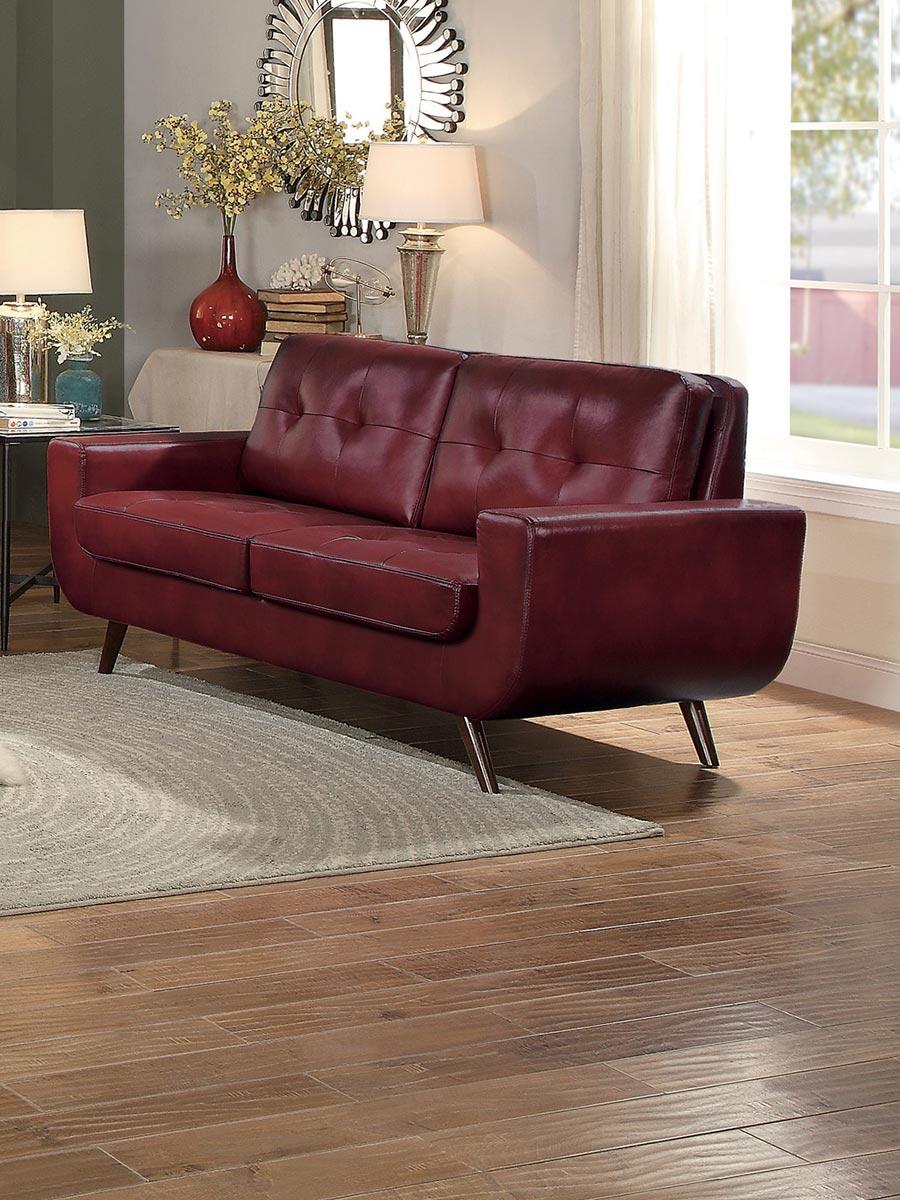 Homelegance Deryn Love Seat - Red Leather Gel Match
