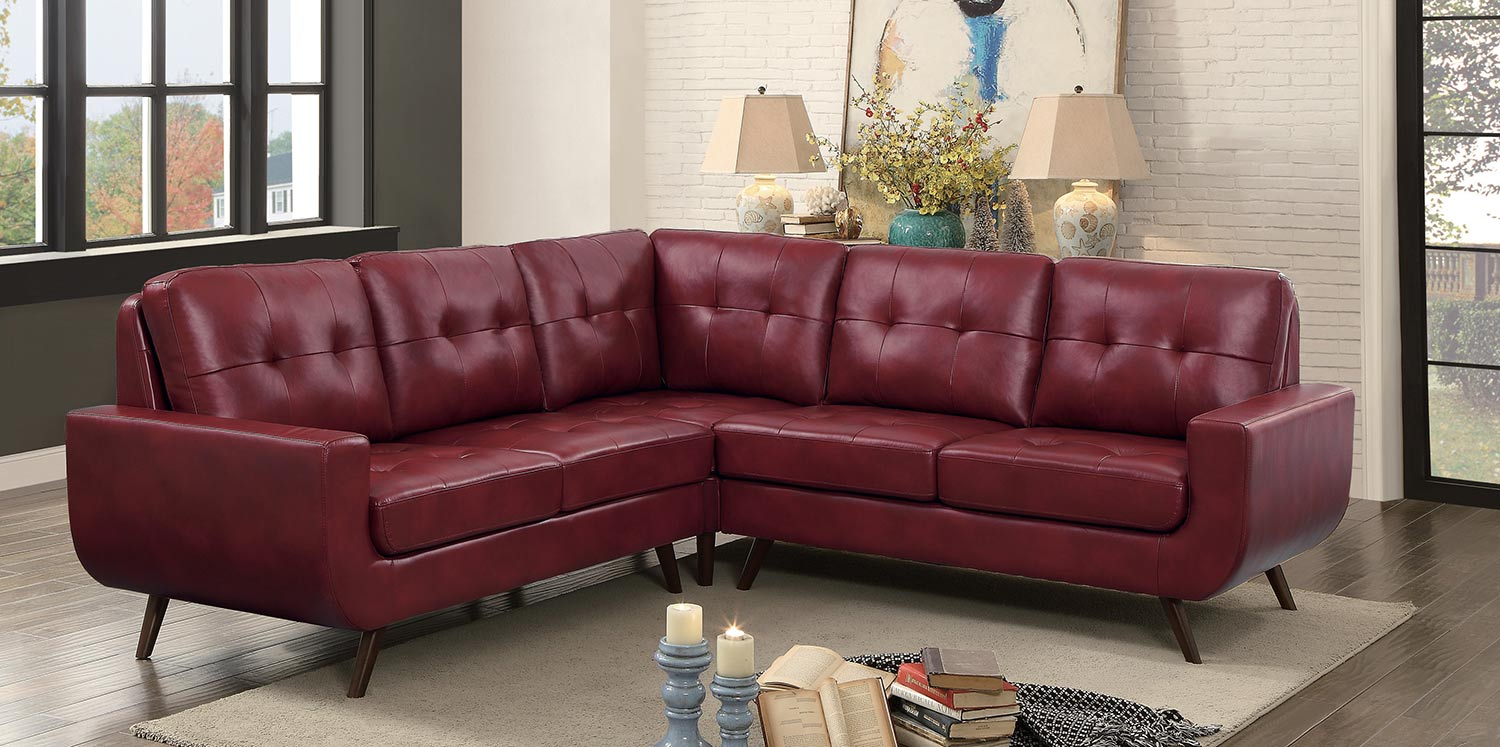Homelegance Deryn Sectional Sofa - Red Leather Gel Match