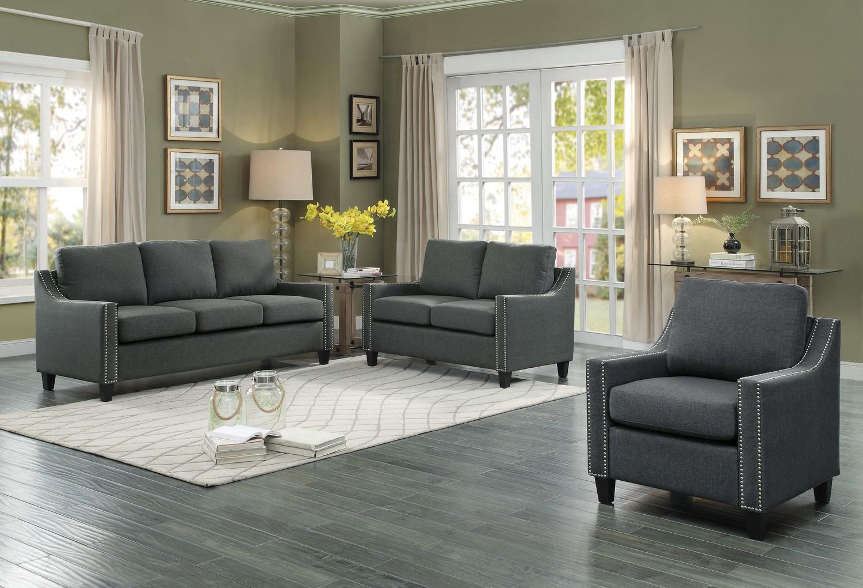 Homelegance Pagosa Sofa Set - Polyester - Dark Grey