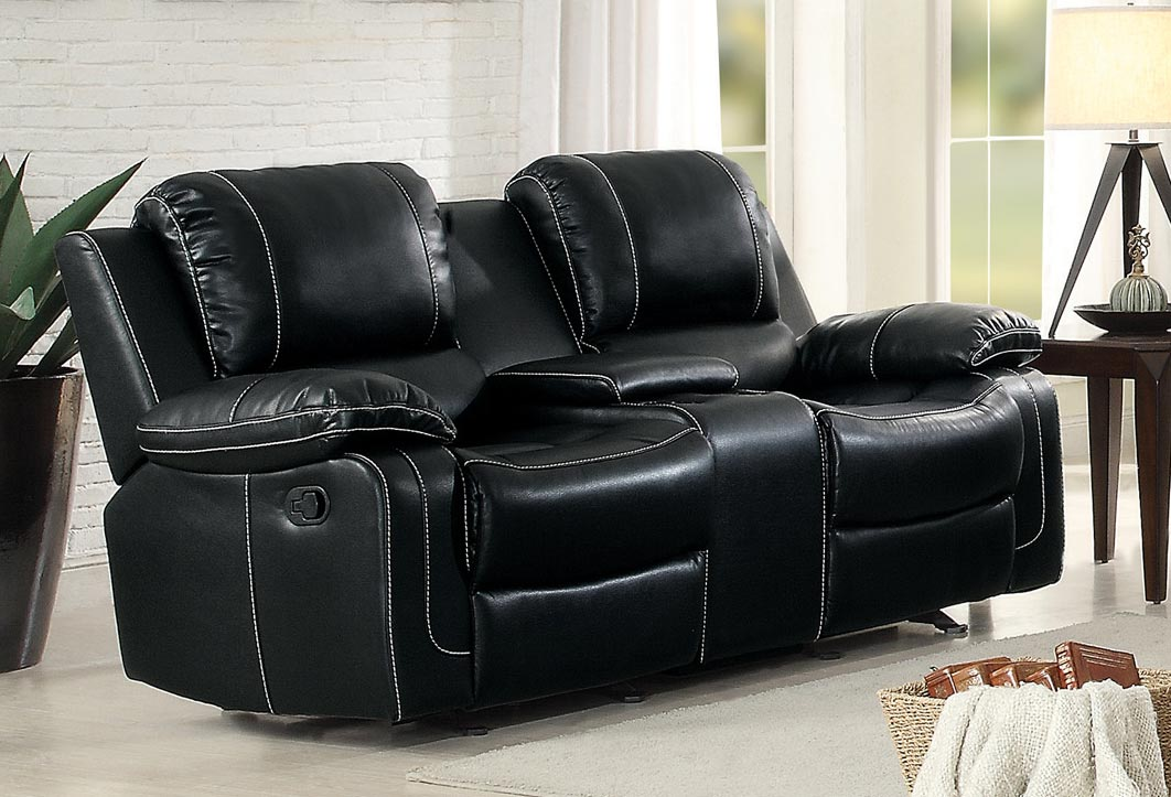 Homelegance Oriole Double Glider Reclining Love Seat with Center Console - Faux Leather - Black