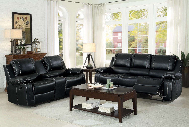 Homelegance Oriole Reclining Sofa Set - Faux Leather - Black
