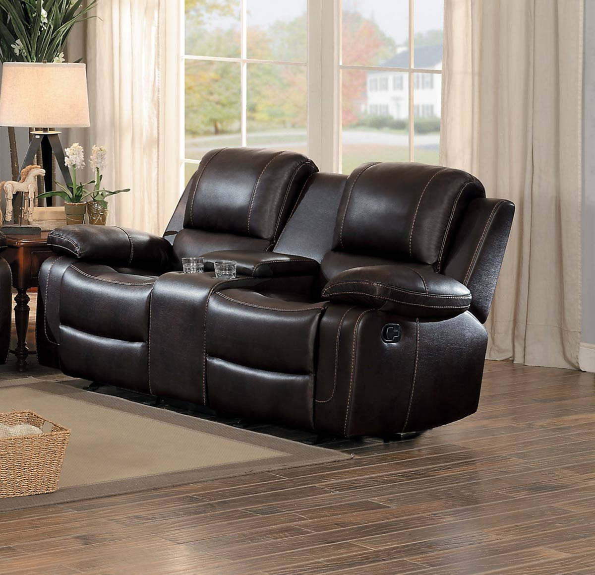 Homelegance Oriole Double Glider Reclining Love Seat with Console - Dark Brown AireHyde Match