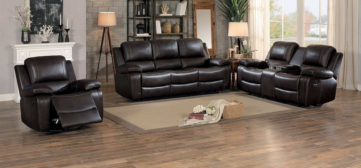 Homelegance Oriole Reclining Sofa Set - Dark Brown AireHyde Match