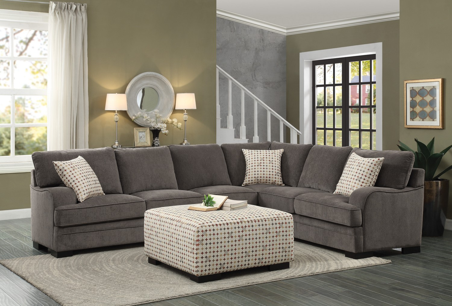 Homelegance Alamosa Sectional Sofa Set   Chenille   Brown