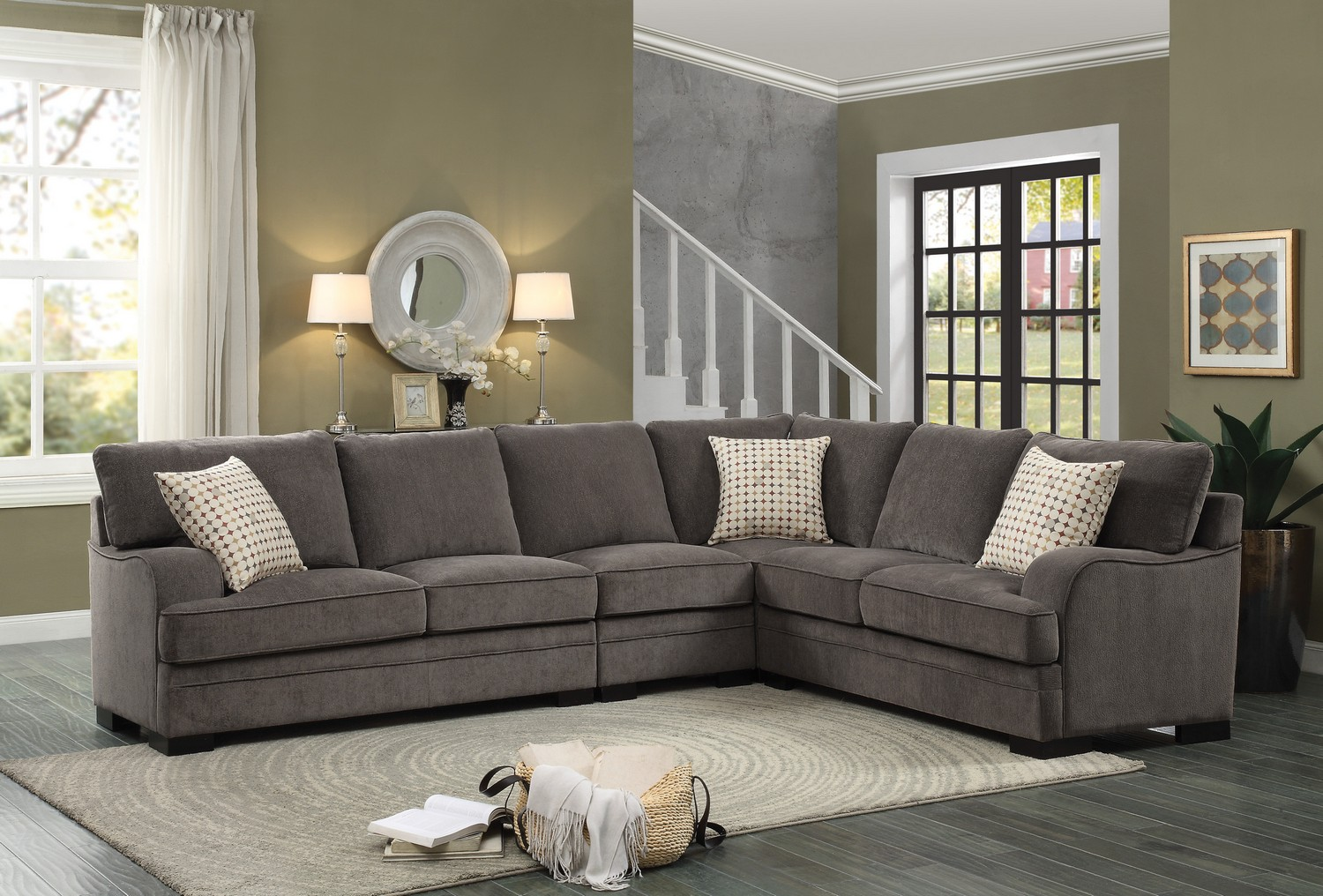 Homelegance Alamosa Sectional Sofa Set - Chenille - Brown