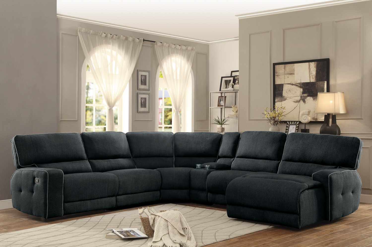 Homelegance keamey reclining sectional sofa set a for Dark grey couch