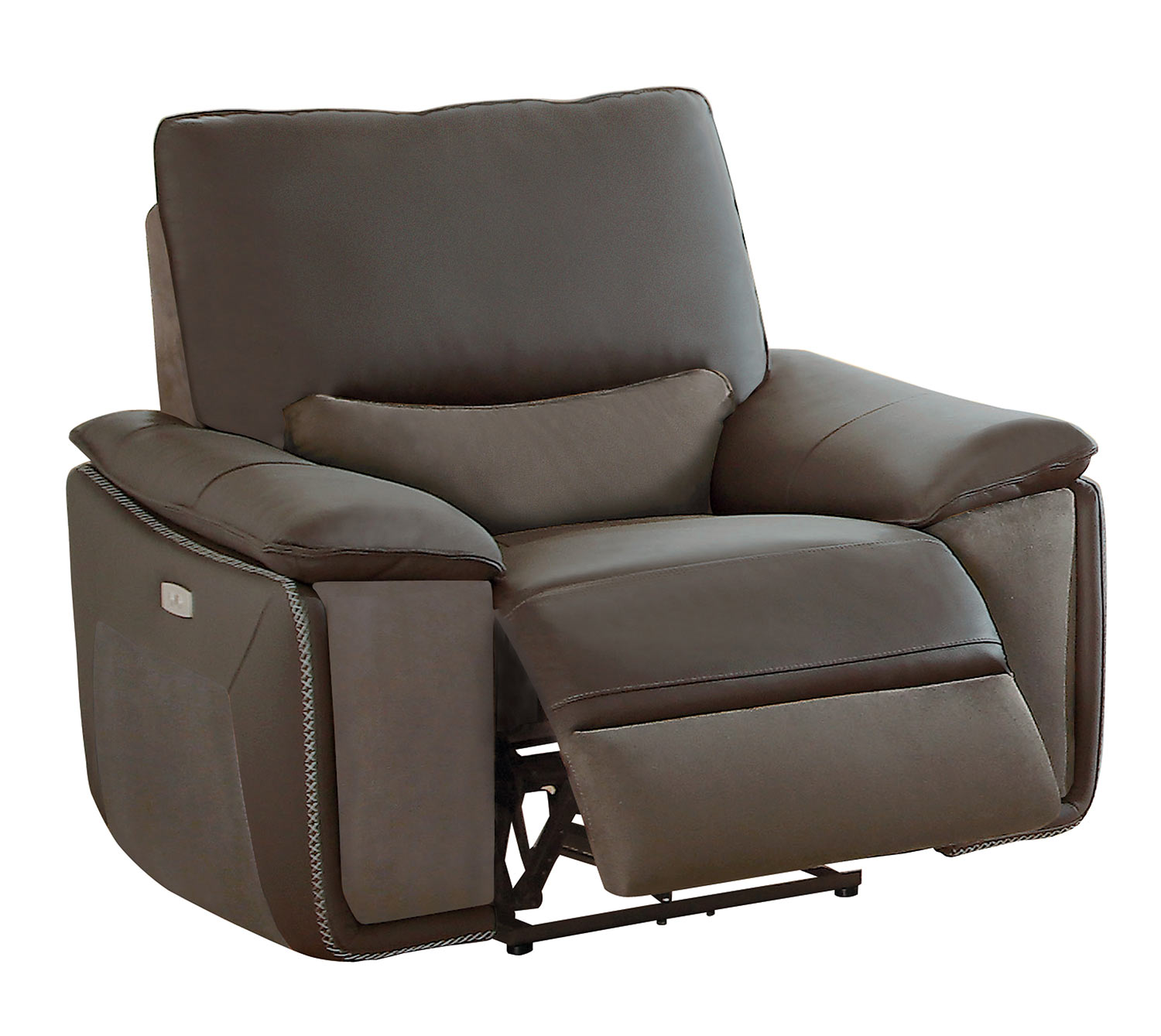 Homelegance Corazon Power Reclining Chair - Navy Gray Top Grain Leather/Fabric