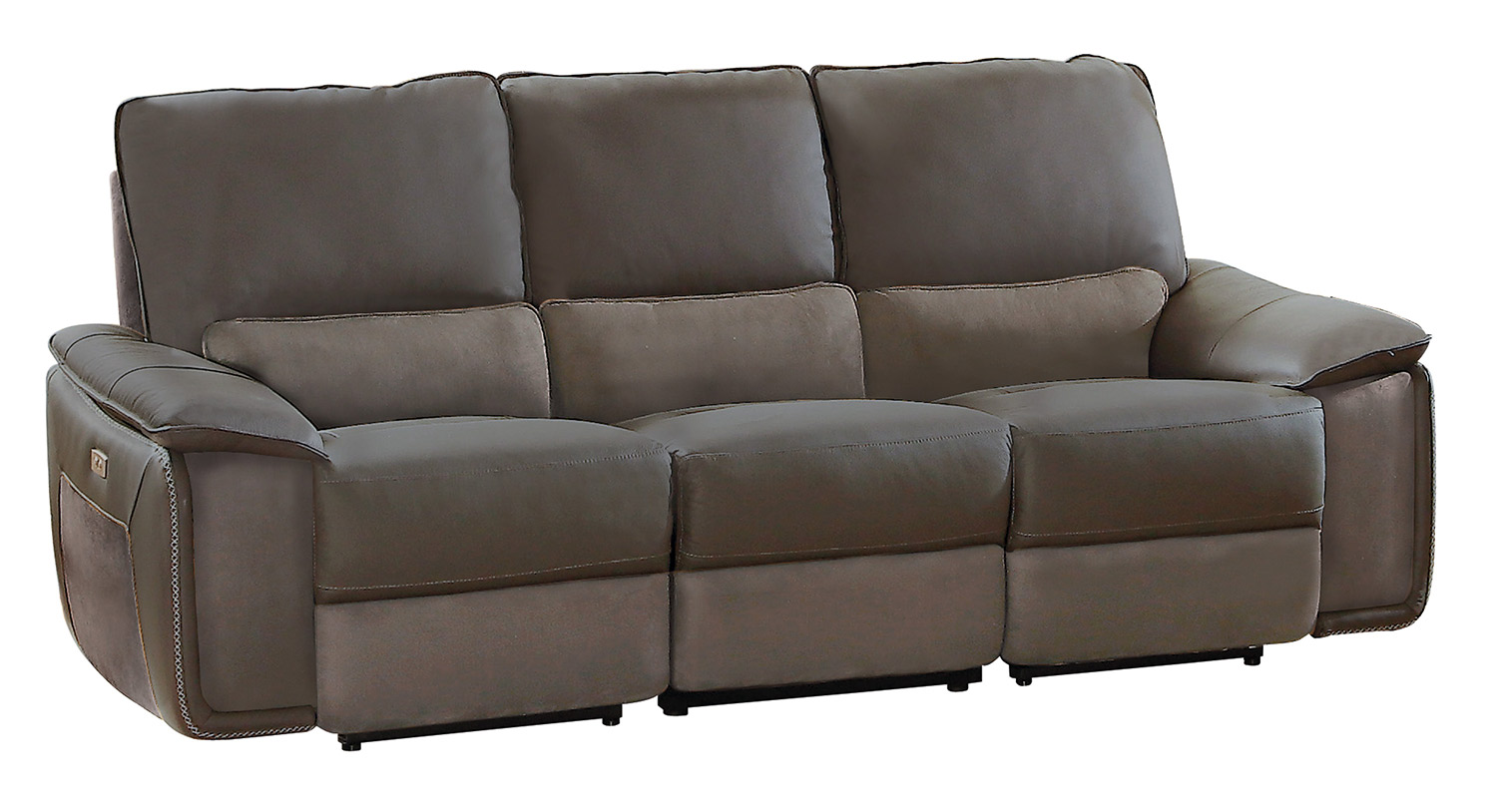 Homelegance Corazon Power Double Reclining Sofa   Navy Gray Top Grain  Leather/Fabric