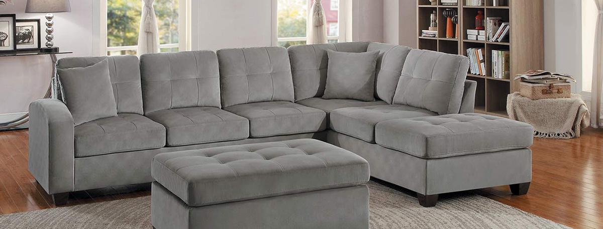 Homelegance Emilio Reversible Sectional Sofa - Taupe Fabric