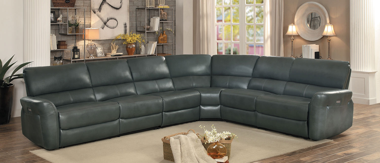 Homelegance Kismet Power Reclining Sectional Set - Gray AireHyde Match