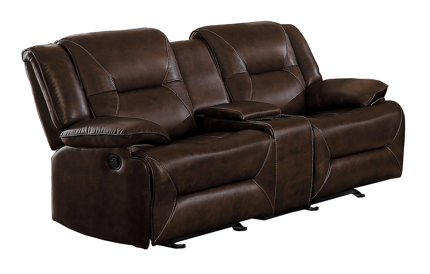 Homelegance Okello Double Glider Reclining Love Seat with Console - Brown AireHyde Match