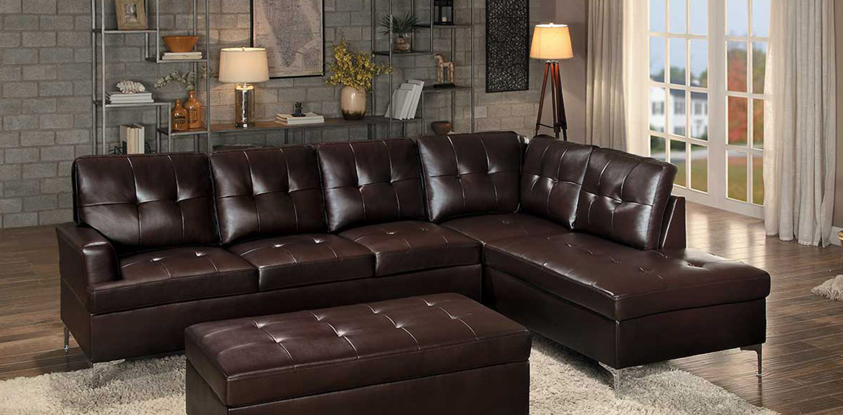 Homelegance Barrington Sectional Sofa - Brown Bi-Cast Vinyl