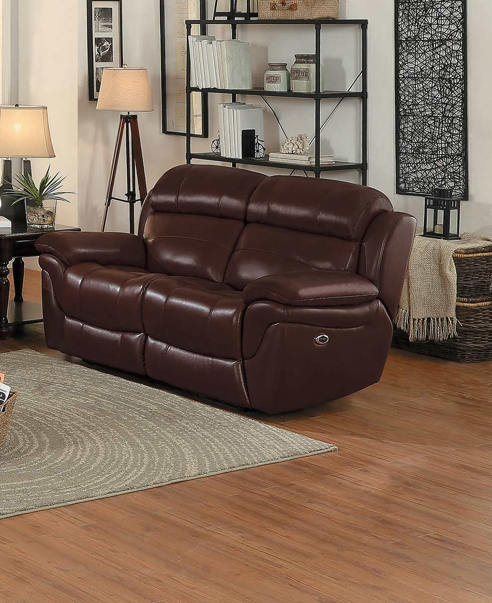 Homelegance Spruce Power Double Reclining Love Seat - Brown Top Grain Leather Match