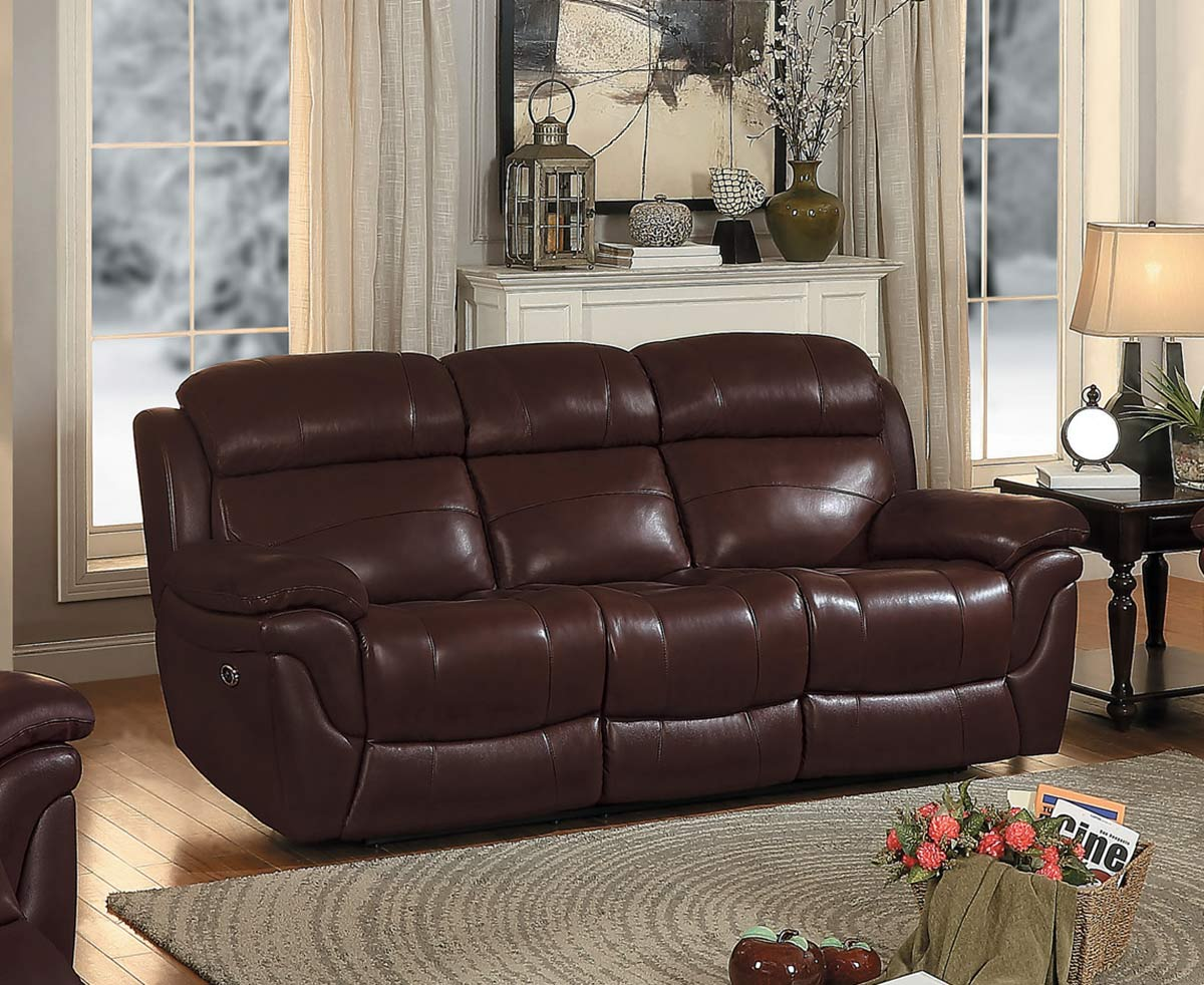 Homelegance Spruce Power Double Reclining Sofa - Brown Top Grain Leather Match