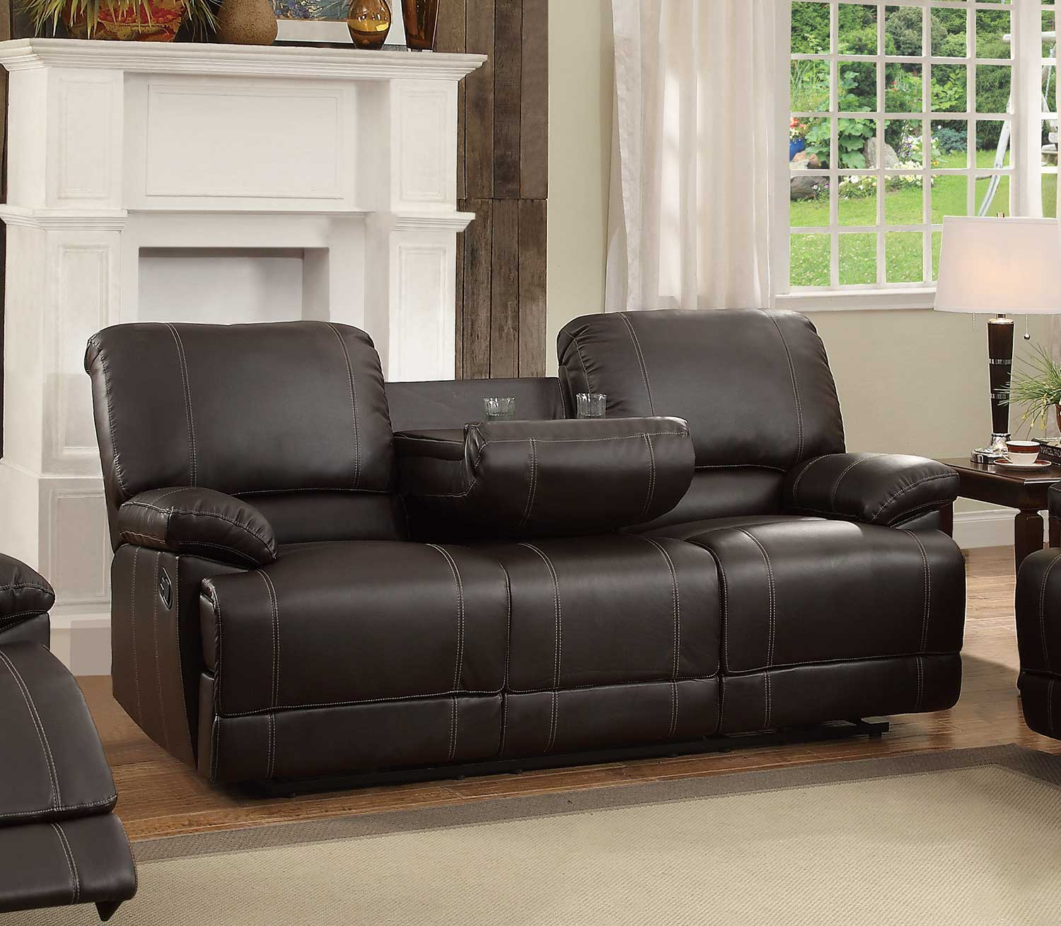 Homelegance Cassville Double Reclining Sofa With Center Drop Down Cup  Holders   Dark Brown