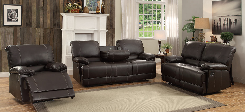 Homelegance Cassville Reclining Sofa Set - Dark Brown