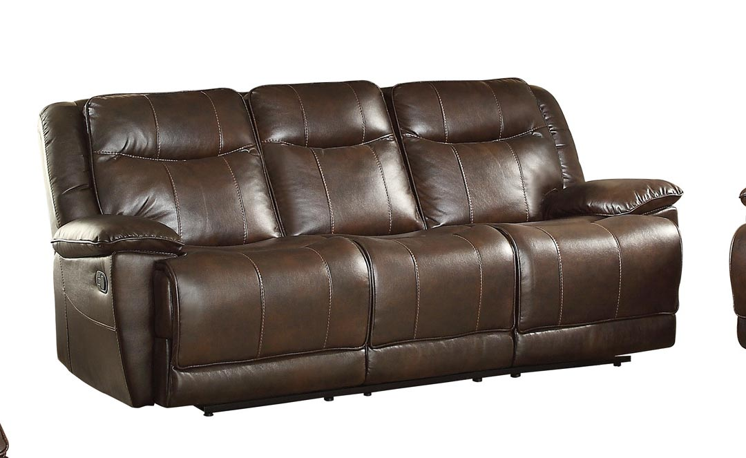 Ordinaire Homelegance Wasola Triple Reclining Sofa   Leather Gel Match   Dark Brown