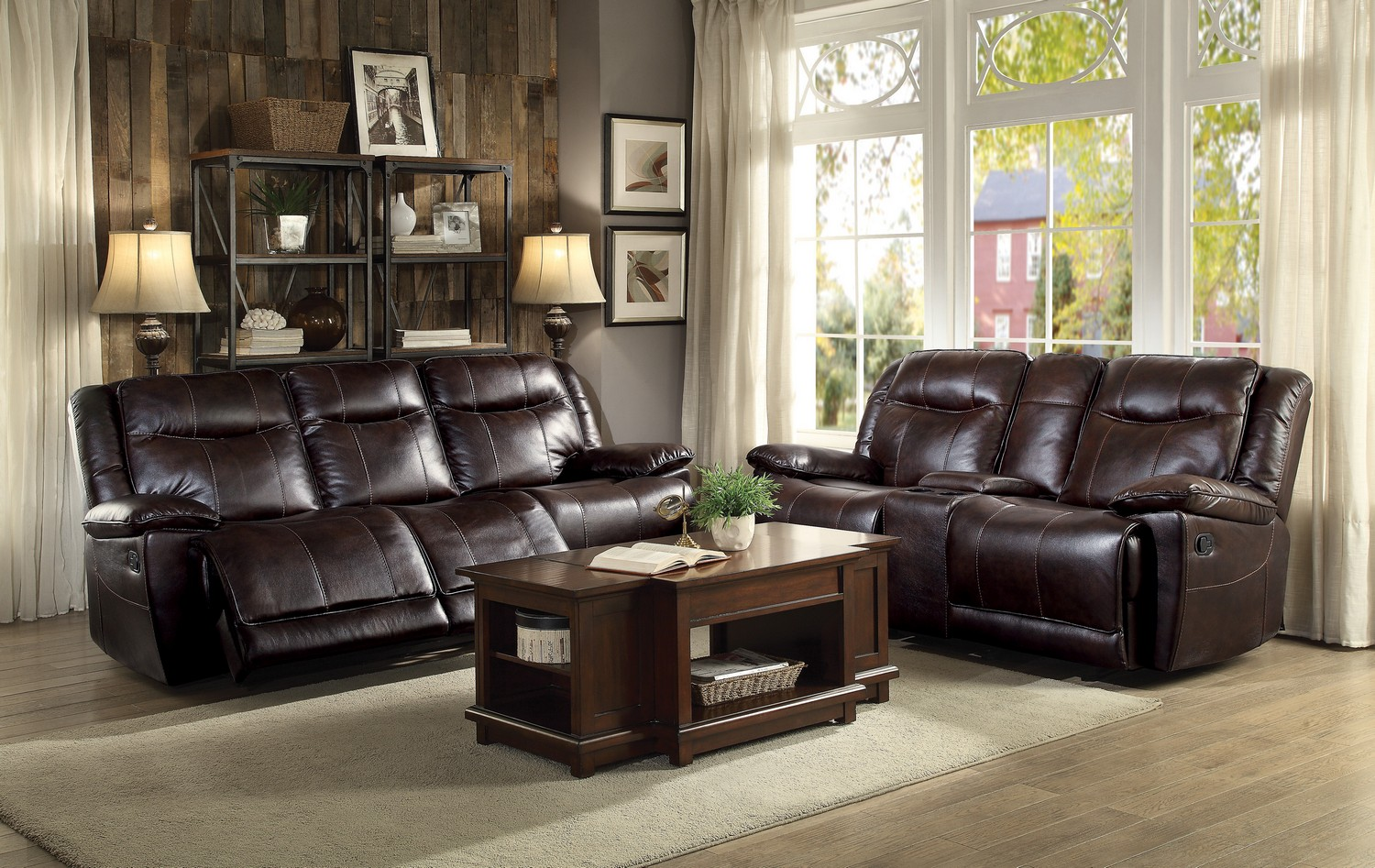 Homelegance Wasola Reclining Sofa Set   Leather Gel Match   Dark Brown