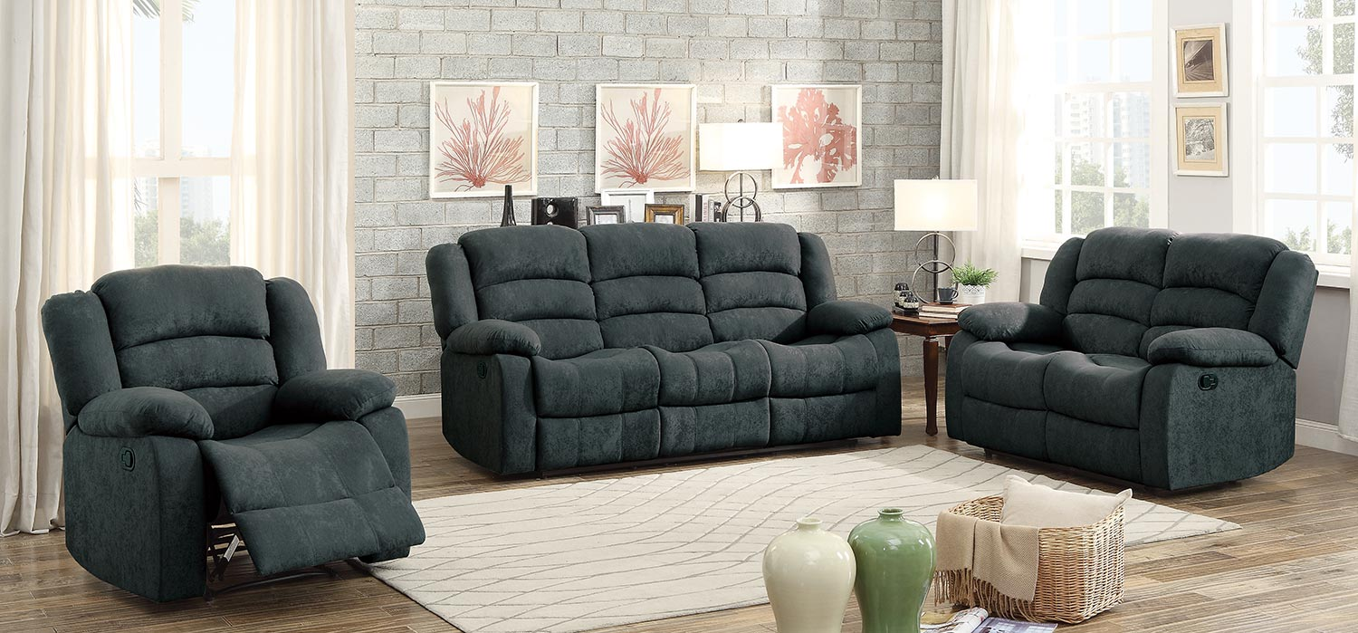 Homelegance greenville reclining sofa set blue grey for Couch sofa set