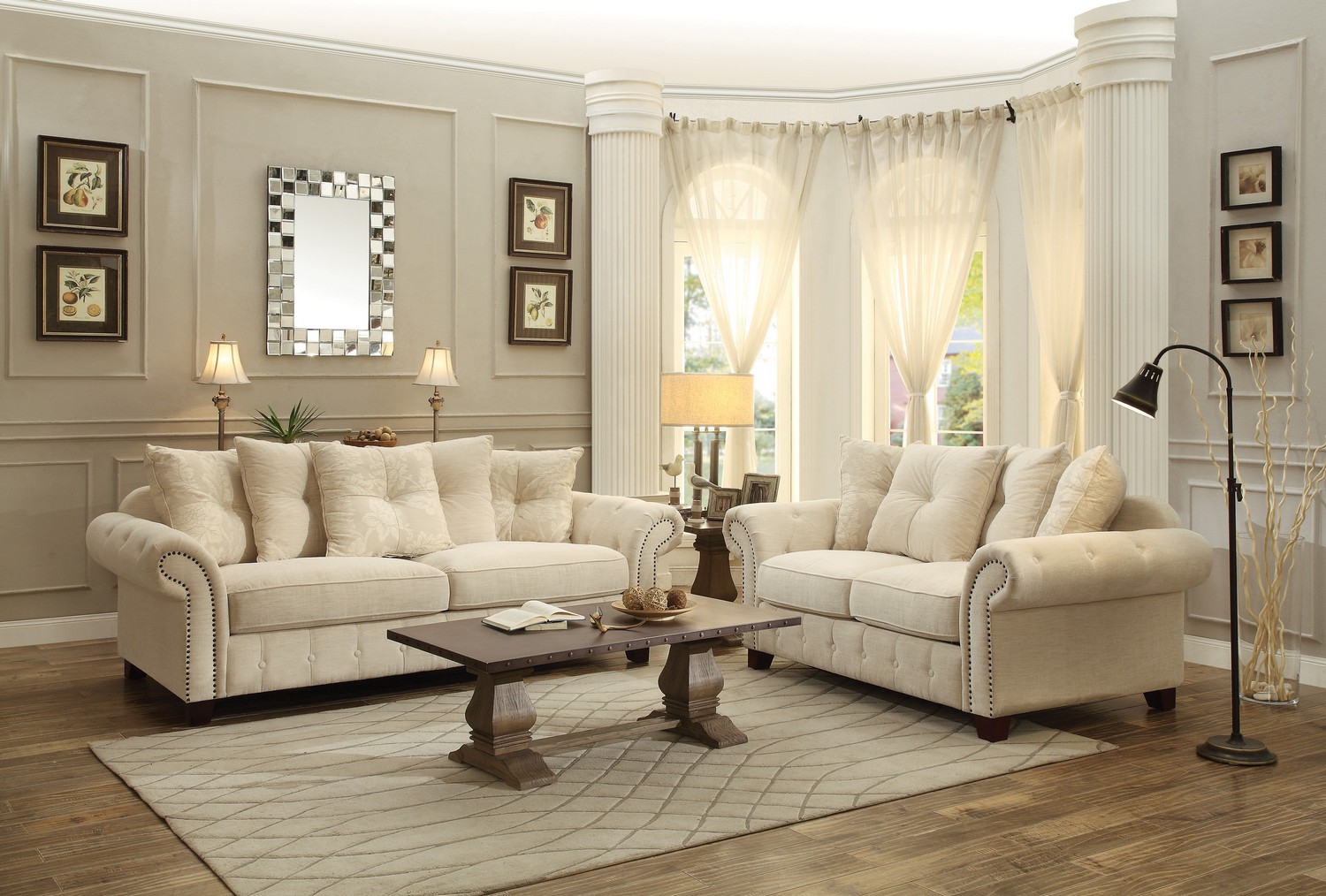 cream living room set. Homelegance Centralia Sofa Set  Polyester Blend Cream 8458 SOFA