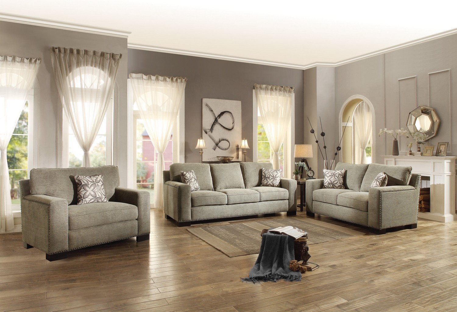 Homelegance Gowan Sofa Set - Chenille - Brown