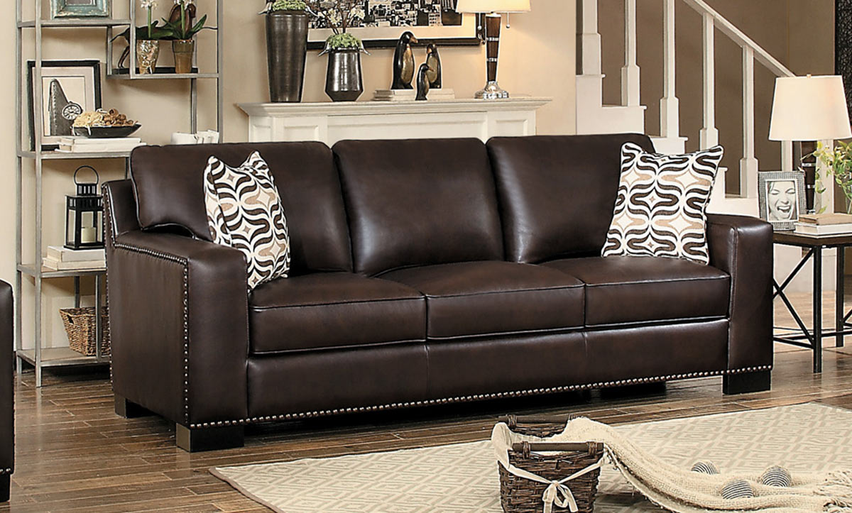 Homelegance Gowan Sofa - Dark Brown Leather Gel Match