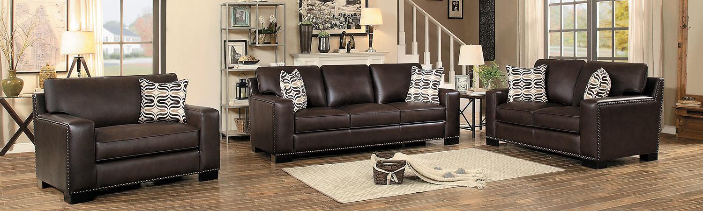 Homelegance Gowan Sofa Set - Dark Brown Leather Gel Match