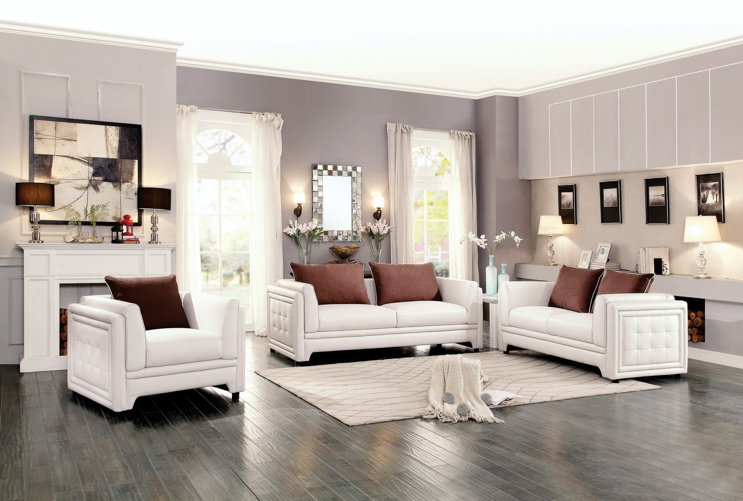 Homelegance Azure Sofa Set Faux Leather Off White