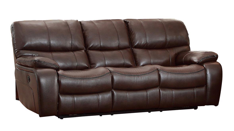Homelegance Pecos Power Double Reclining Sofa - Leather Gel Match - Dark Brown