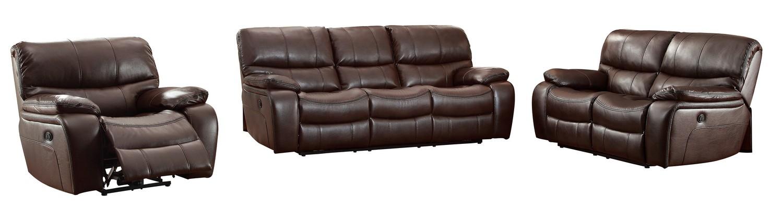 Homelegance Pecos Power Reclining Sofa Set - Leather Gel Match - Dark Brown