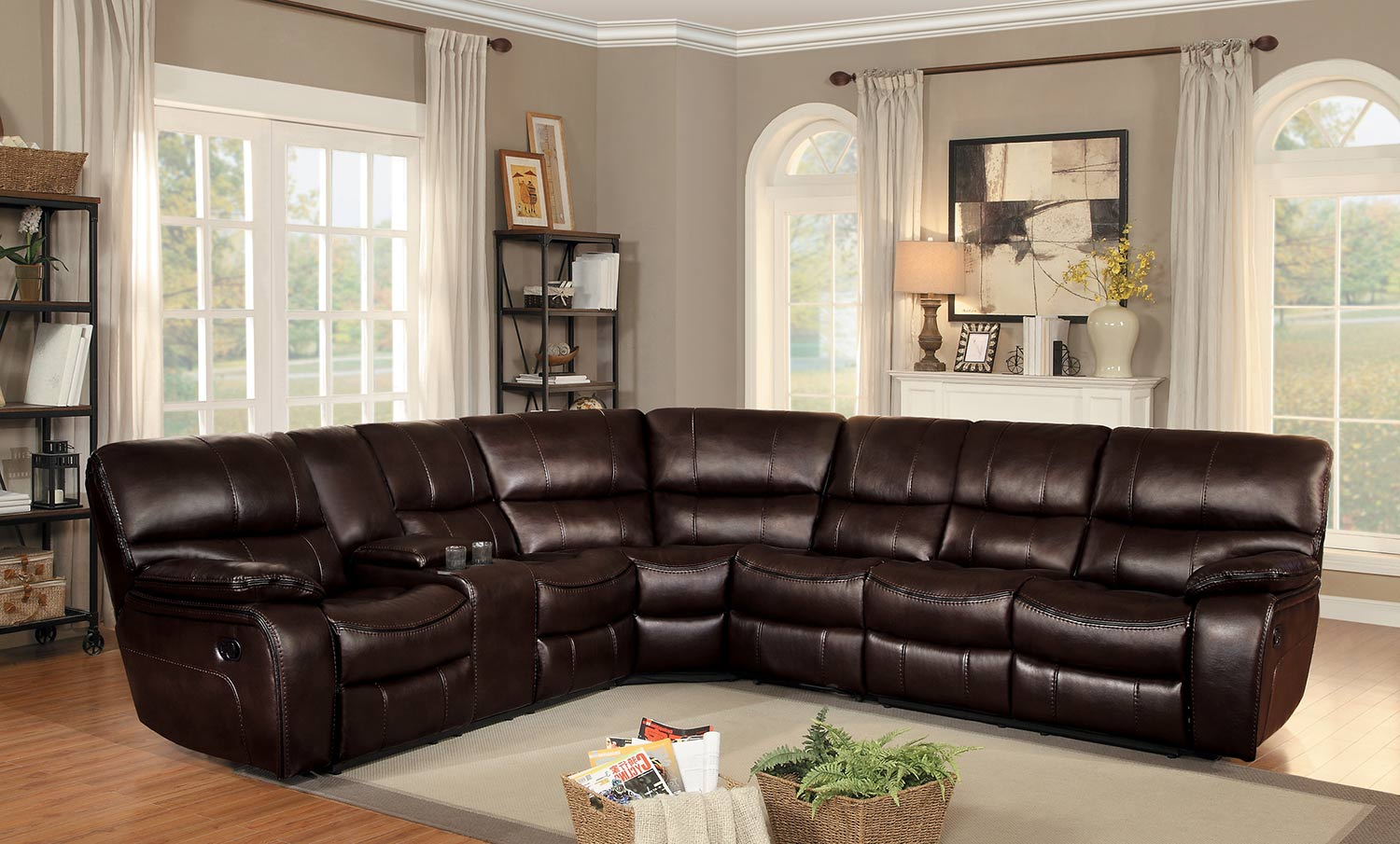 Homelegance Pecos Reclining Sectional Set - Dark Brown Leather Gel Match : brown reclining sectional - Sectionals, Sofas & Couches