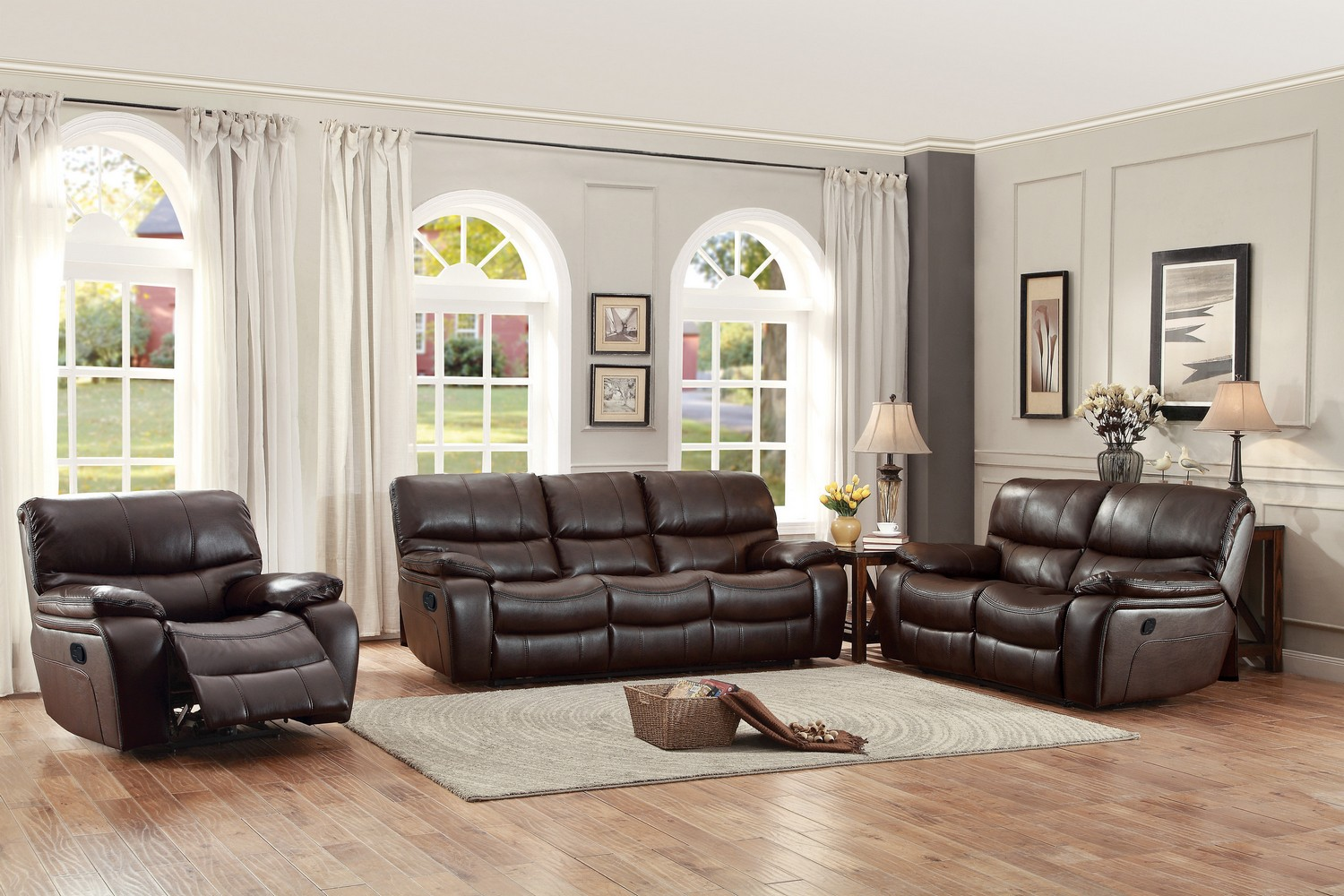 Homelegance Pecos Reclining Sofa Set - Leather Gel Match - Dark Brown