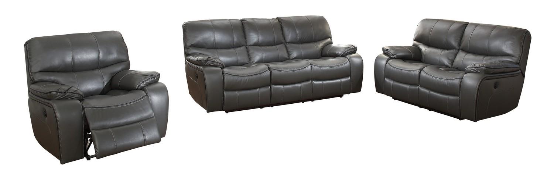 Homelegance Pecos Power Reclining Sofa Set - Leather Gel Match - Grey