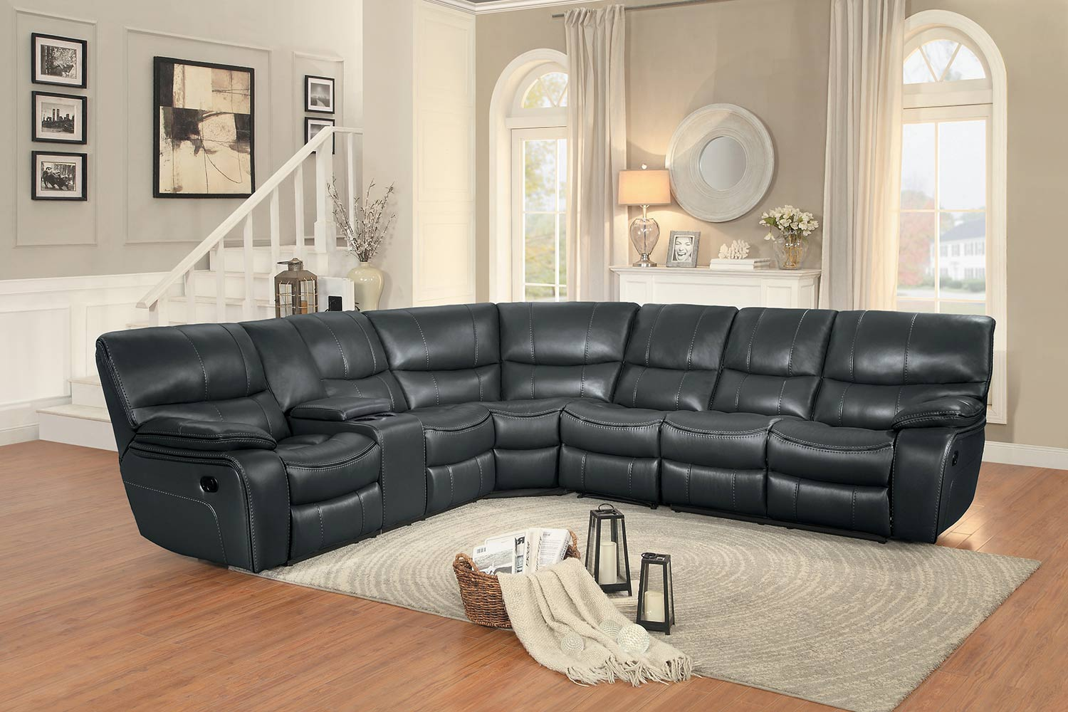 Homelegance Pecos Reclining Sectional Set - Grey Leather Gel Match