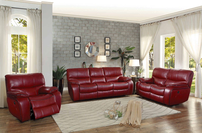 Homelegance Pecos Power Reclining Sofa Set - Leather Gel Match - Red