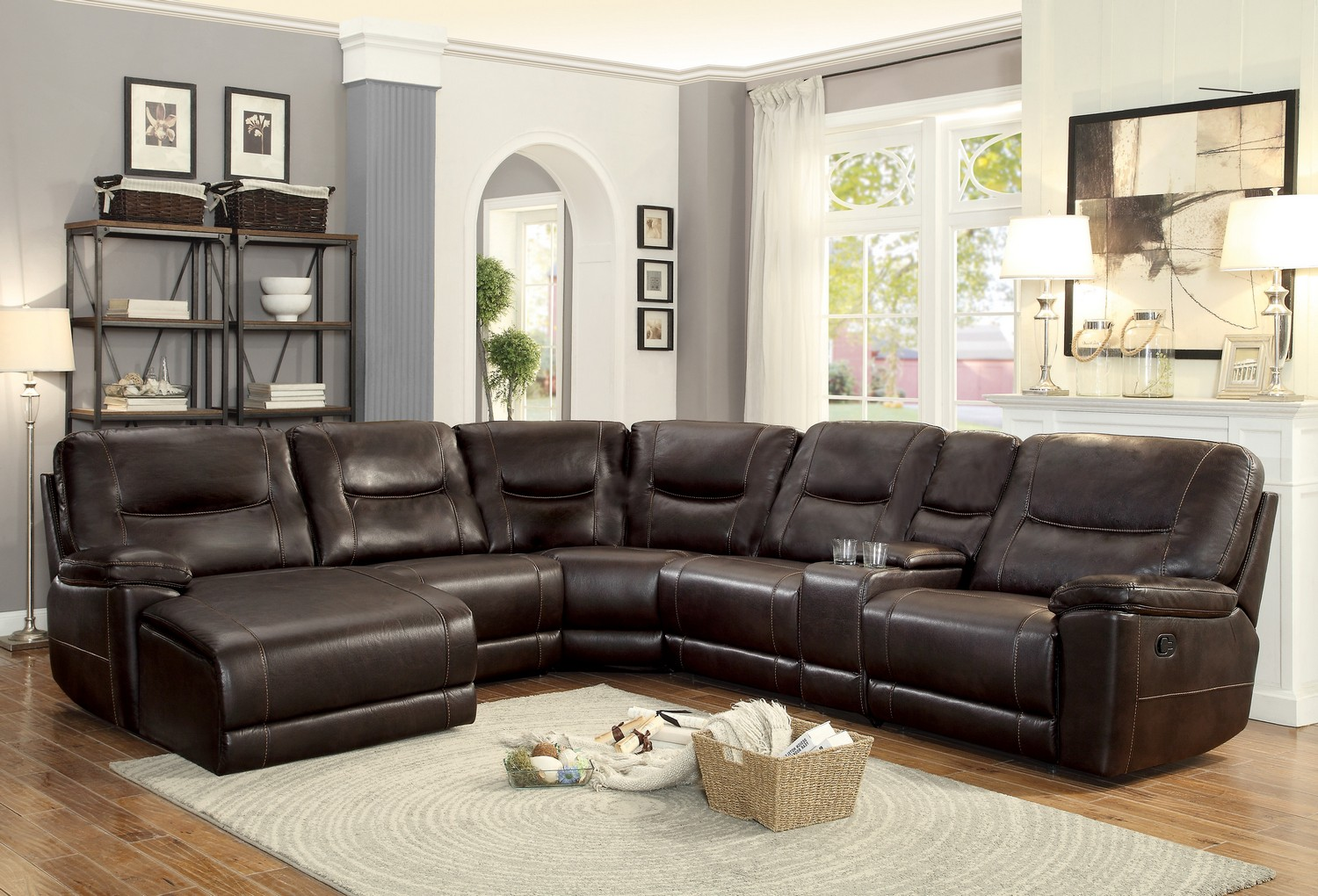 Homelegance Columbus Reclining Sectional Sofa Set B - Breathable Faux Leather - Dark Brown