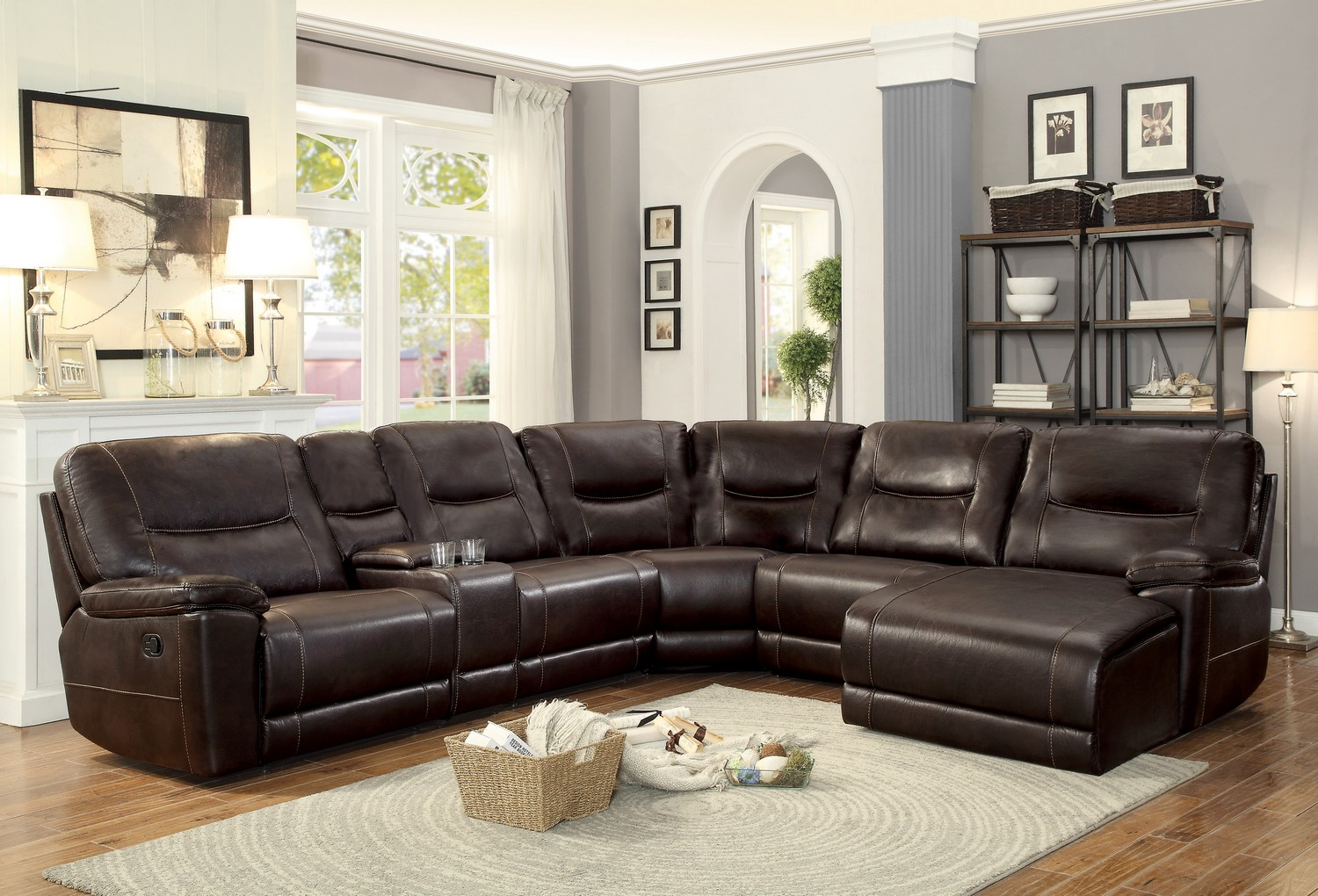 Homelegance Columbus Reclining Sectional Sofa Set C - Breathable Faux Leather - Dark Brown